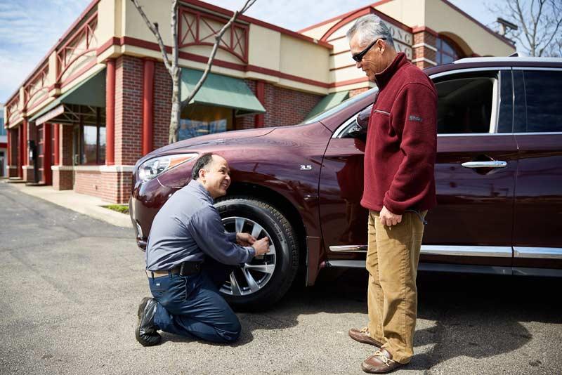 Checking tire tread and tire pressure   Hong Kong Auto Service, Wilmette, IL