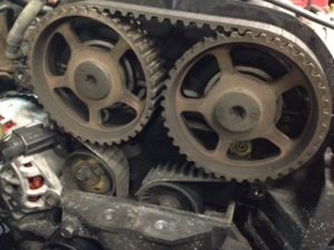 gears with timing belt wrapped around
